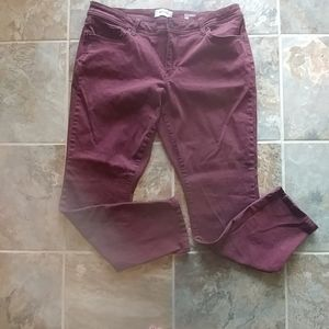 Sonoma skinny jeans, maroon, size 16